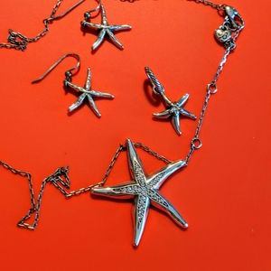 Starfish necklace, earrings and charm
